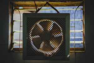 white exhaust fan hanged