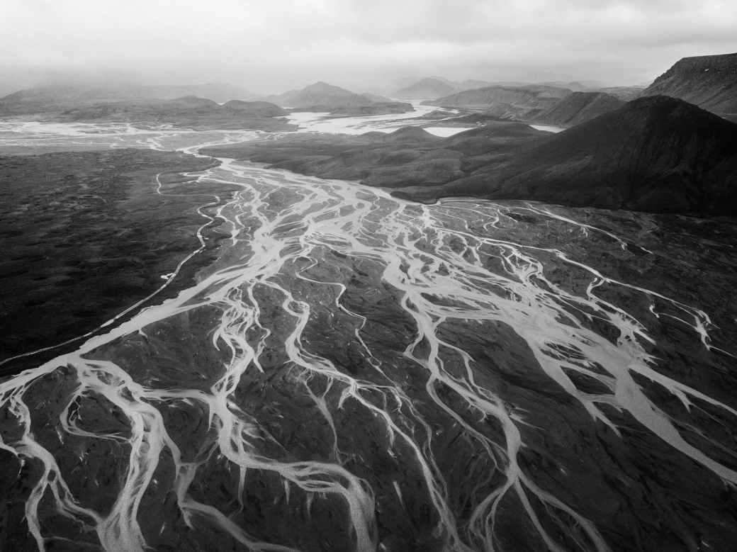 river delta and majestic mountain landscape