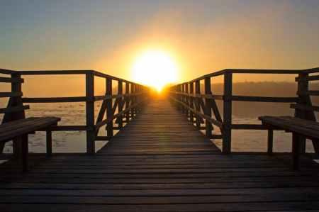 beach bench boardwalk bridge